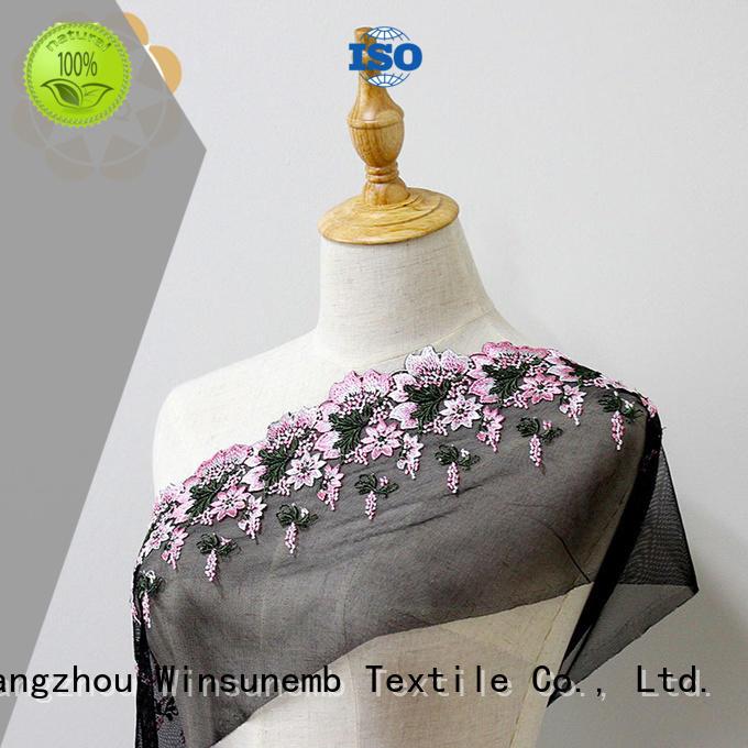 Wholesale graceful red lace fabric quality Winsunemb Brand