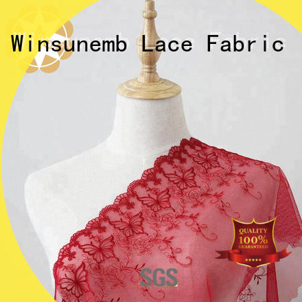 Winsunemb durable lace fabric by the yard allover for underwear