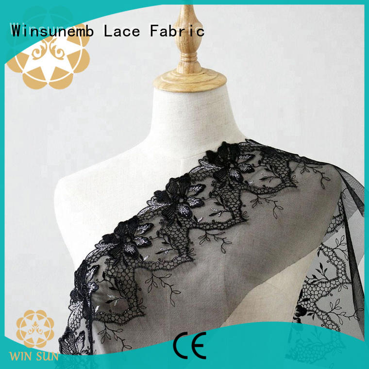 Winsunemb lace fabric by the yard for manufacturer for underwear