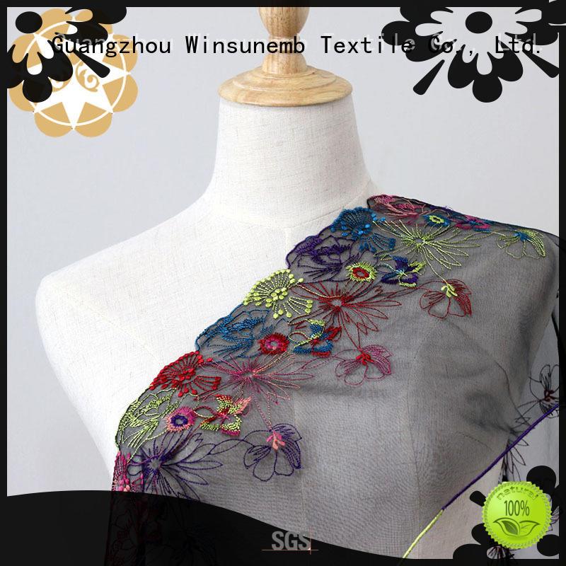 Quality Winsunemb Brand red lace fabric quality bridal