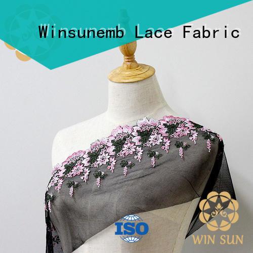 Winsunemb net beaded lace fabric in china for underwear