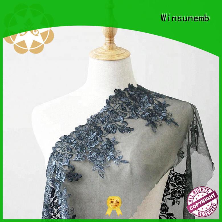 wear Custom evening ripples Embroidery Lace Fabric Winsunemb colorful