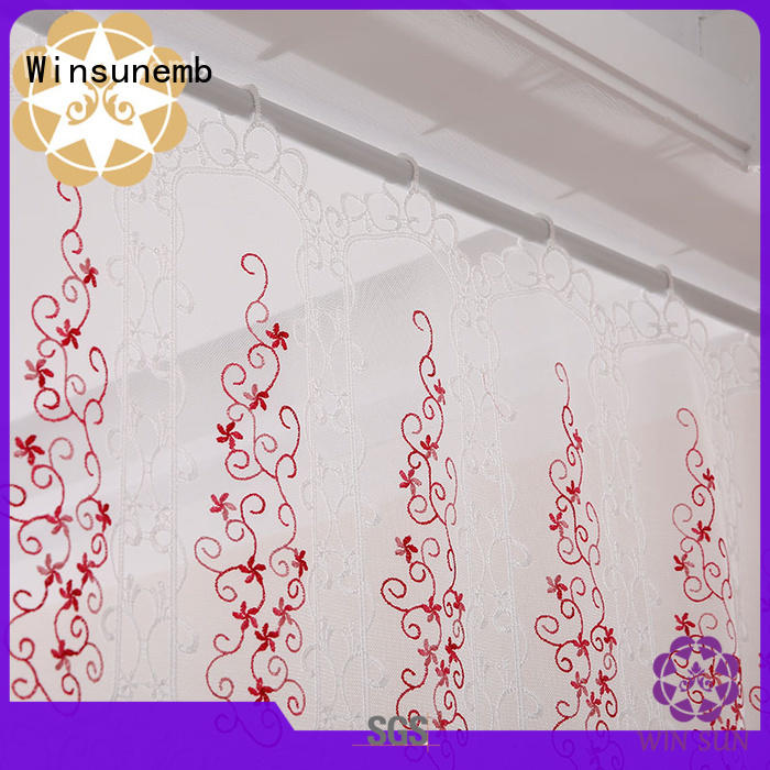 tier embroidered sheer Embroidery Lace Curtains bathroom Winsunemb