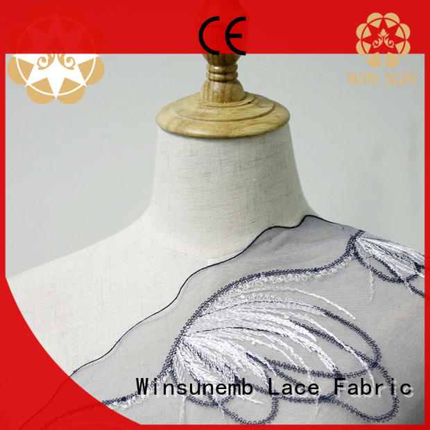 durable Embroidery Lace Fabric 135cm for apparel