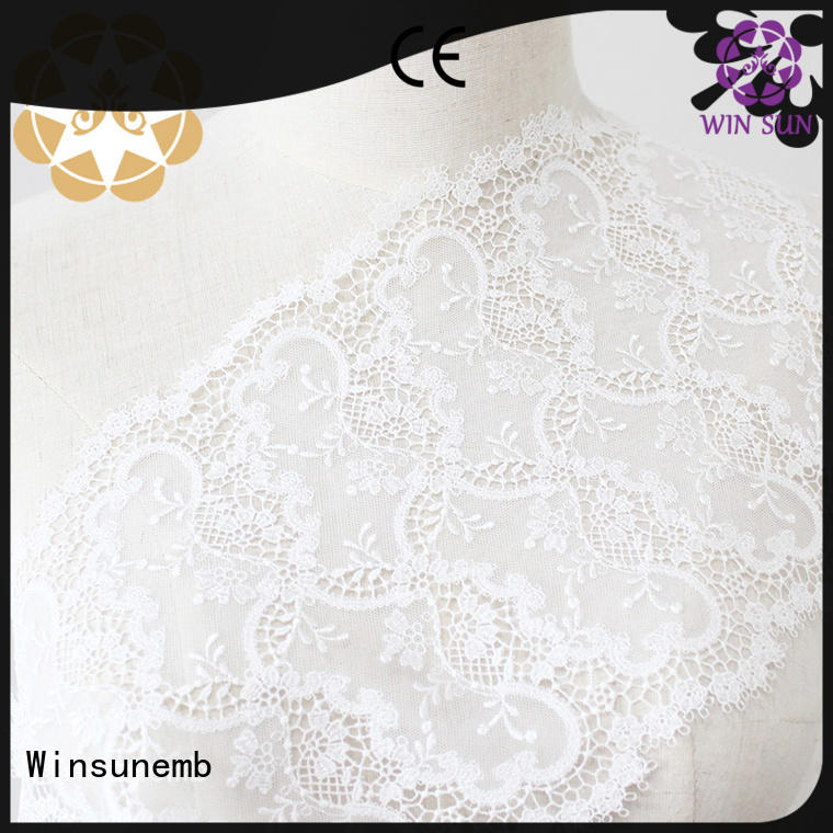 wear french floral Winsunemb Brand Embroidery Lace Fabric supplier
