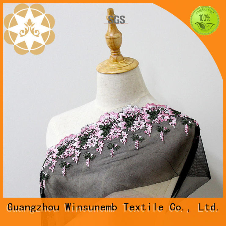 quality floral Embroidery Lace Fabric lingeries Winsunemb Brand