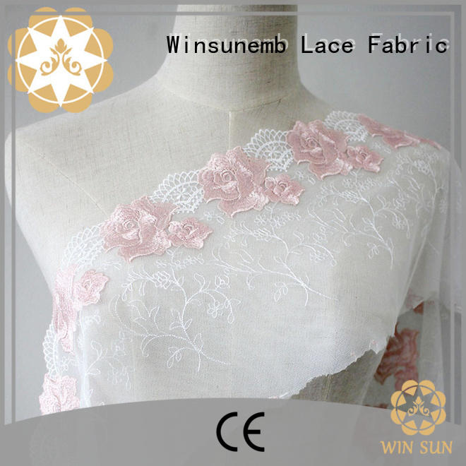 Winsunemb vacationing Embroidery Lace Fabric for apparel