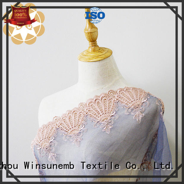 tulle water bright Embroidery Lace Fabric lingeries Winsunemb Brand