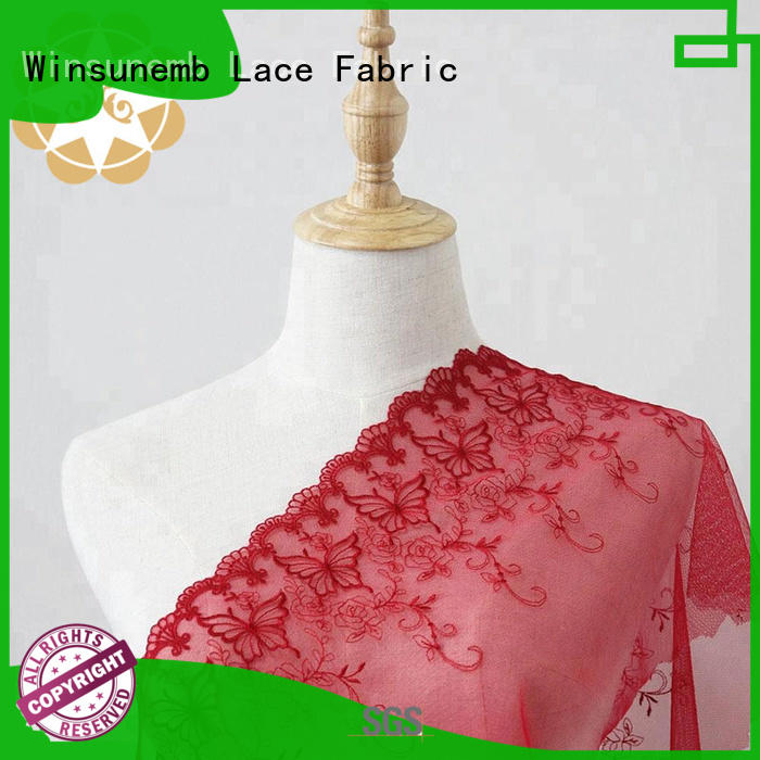 Winsunemb Brand evening ripples red lace fabric