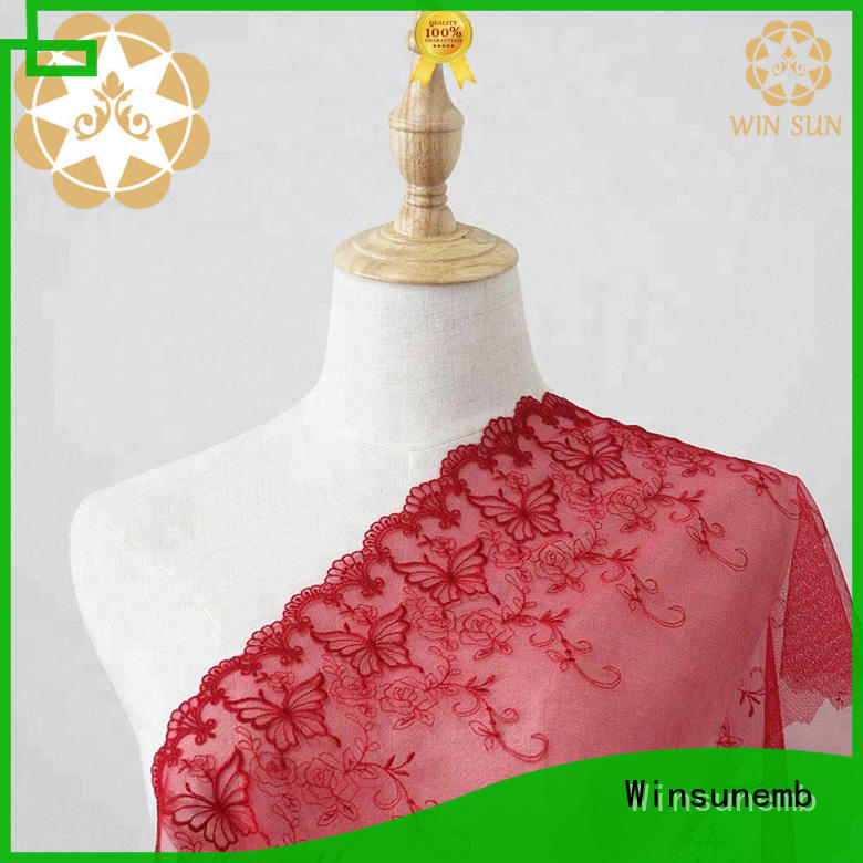 Winsunemb elegant Embroidery Lace Fabric order now for apparel