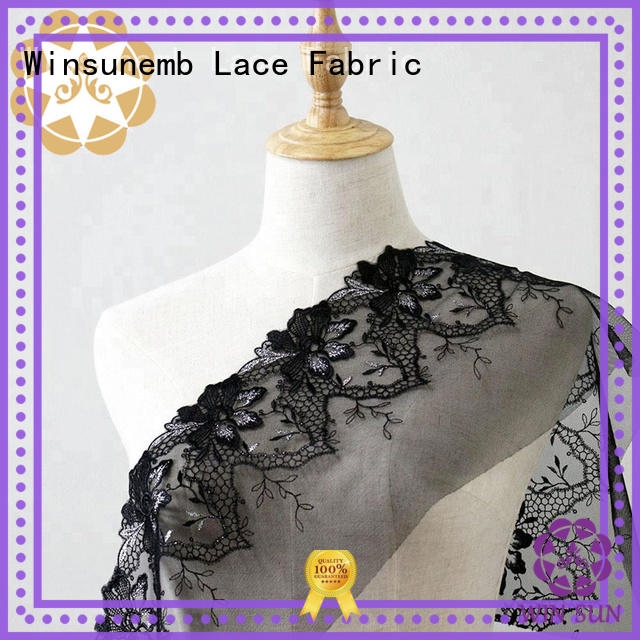 Hot style Embroidery Lace Fabric clothing rose Winsunemb Brand