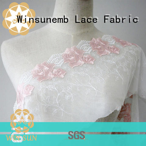 Winsunemb winsunemb2019 Embroidery Lace Fabric for manufacturer for apparel