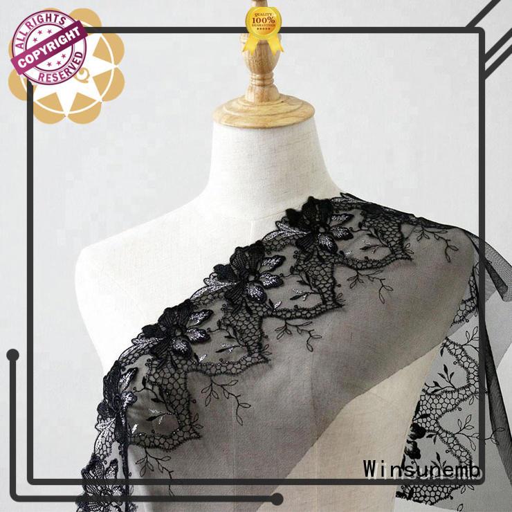 Winsunemb lace black lace material for underwear