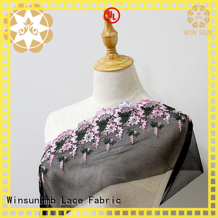Winsunemb excellent beaded lace fabric producer for apparel