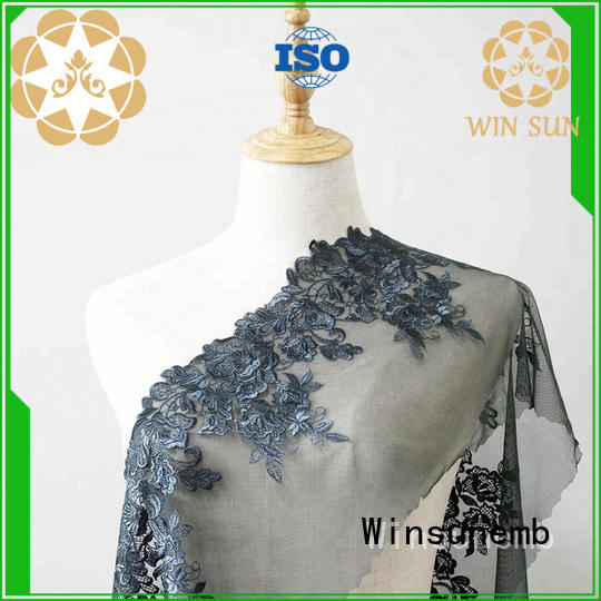 Winsunemb grey stretch lace fabric for manufacturer for apparel