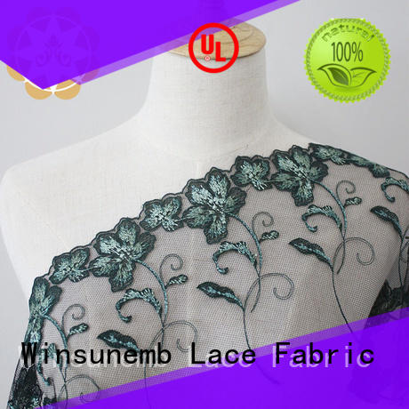 Wholesale red Embroidery Lace Fabric Winsunemb Brand