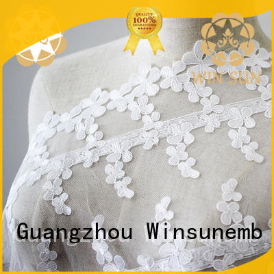 Winsunemb embroidered lace fabric by the yard for manufacturer for apparel