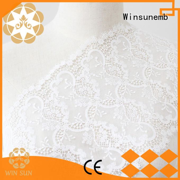 Custom floral Embroidery Lace Fabric bridal Winsunemb