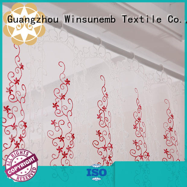 Custom embroidered Embroidery Lace Curtains sheer Winsunemb
