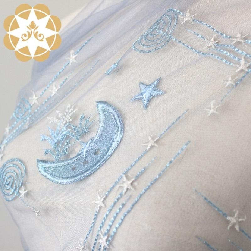 winsunemb2019 New product winsunemb star  and moon  embroidery lace fabric for vacationing  childhood  first love