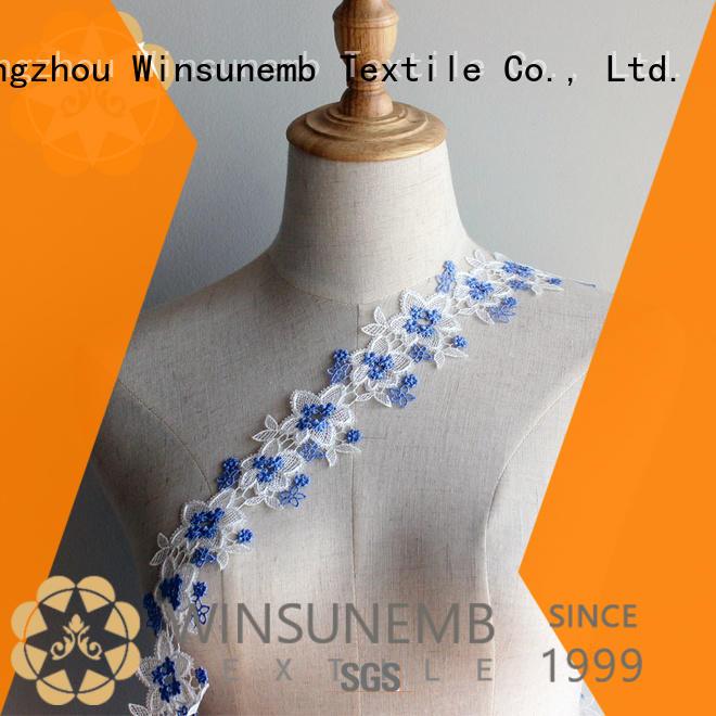 Custom white garment Embroidery Lace Trimming Winsunemb cotton