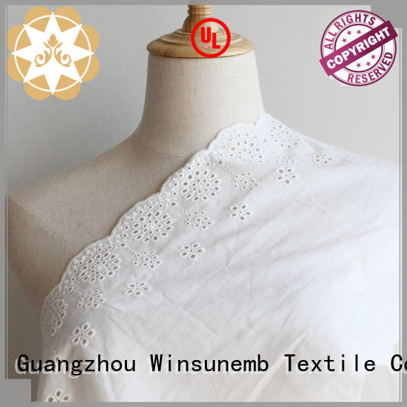 Custom flower polyester Embroidery Lace Fabric Winsunemb lingeries