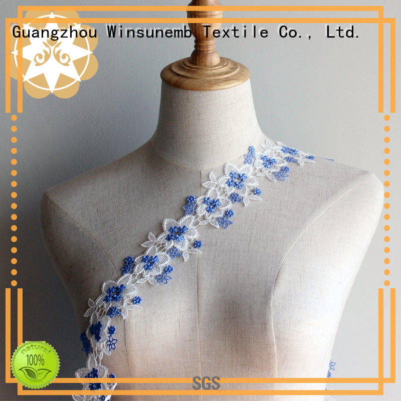 newest hollow garment floral Embroidery Lace Trimming Winsunemb