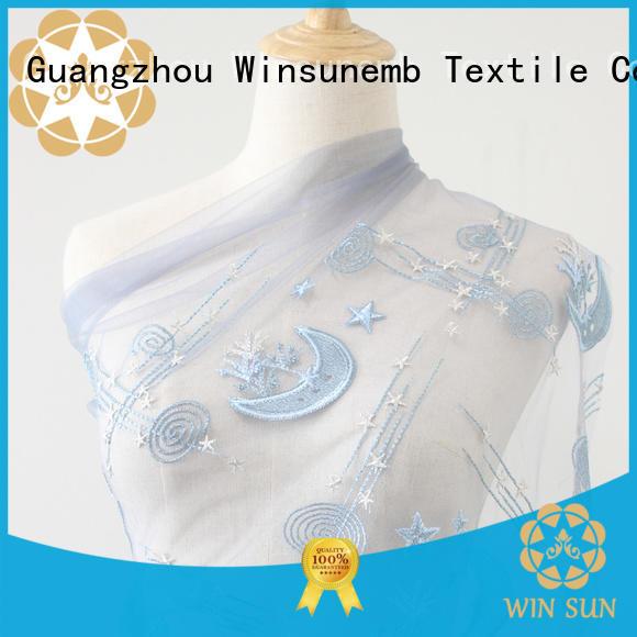 Winsunemb handmade bridal lace fabric bulk production for apparel