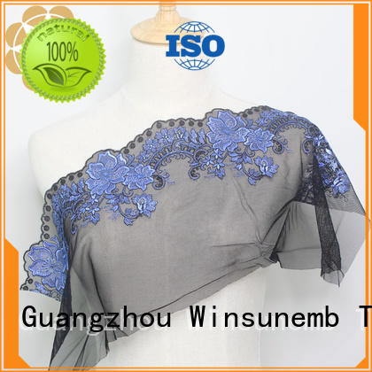 quality hollow cut Embroidery Lace Fabric Winsunemb Brand