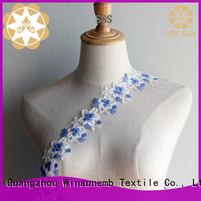 Winsunemb lace trim by the yard producer for fashion garment