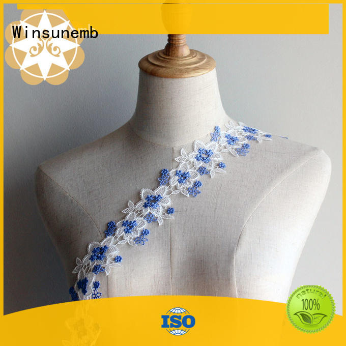 Winsunemb fine qualtiy embroidered lace fabric producer for bedclothes