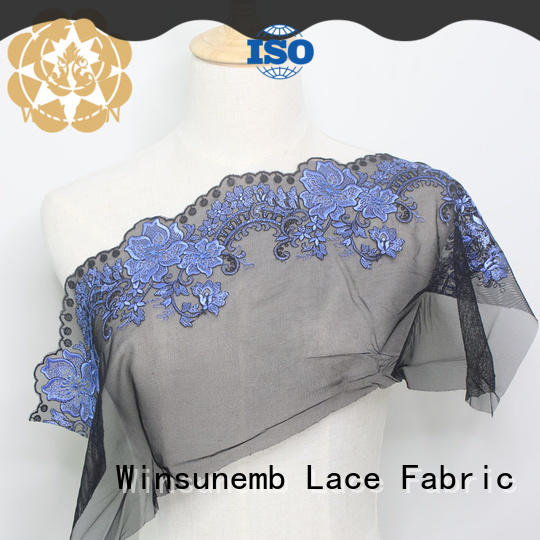 Winsunemb flowers bridal lace fabric producer for underwear