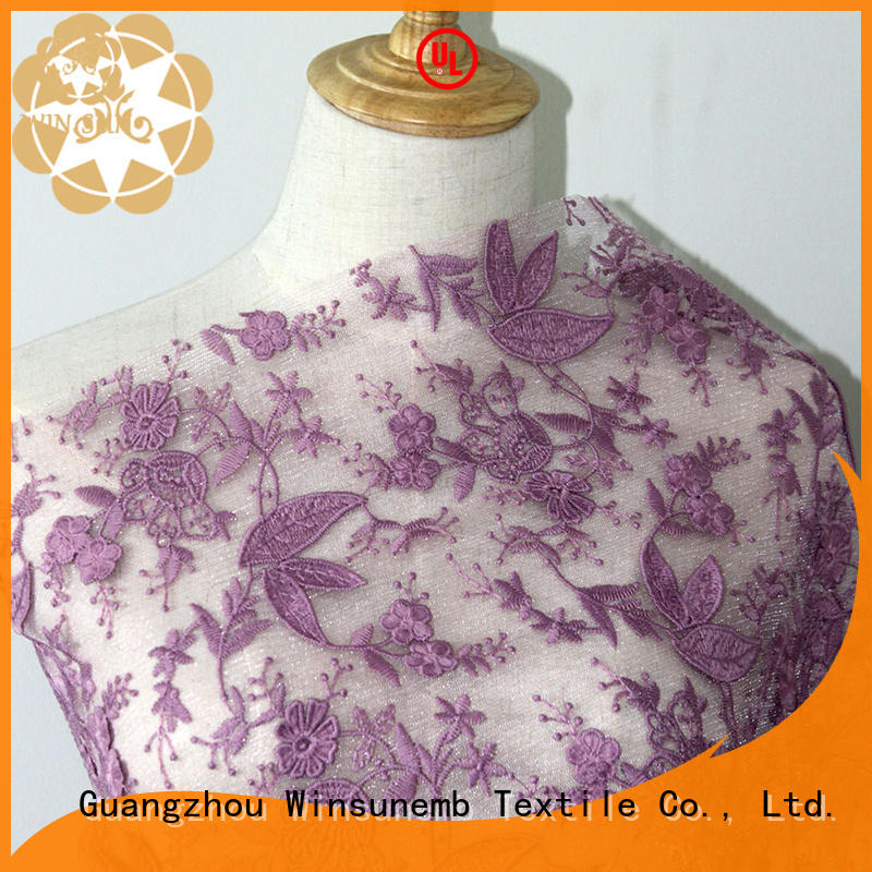 Winsunemb white lace fabric order now for apparel