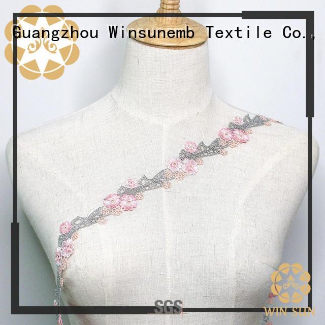 Winsunemb leaf lace ribbon producer for fashion garment