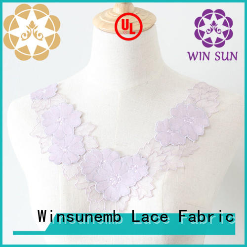 outstanding lace applique fabric in china for DIY Winsunemb