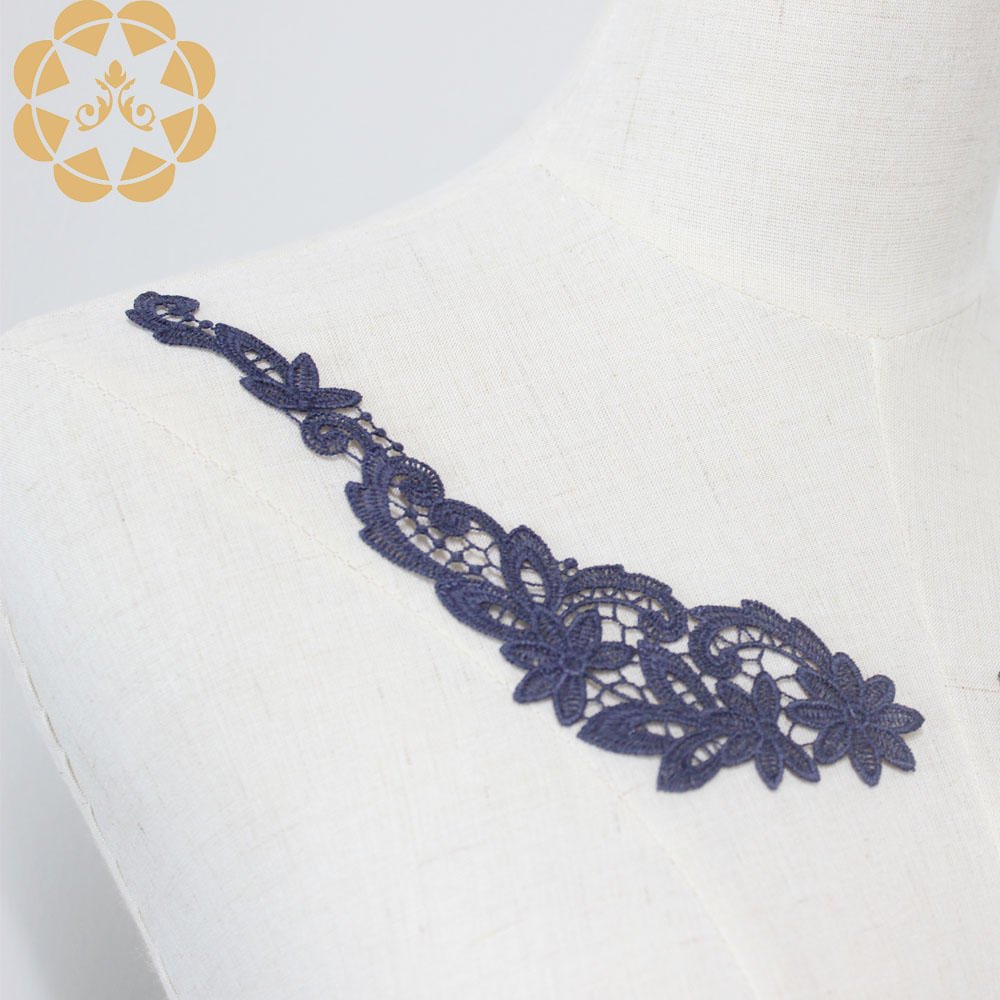 Embroidered  Motif Embroidered Floral Collar Applique Lace Neckline Cotton Lace Collar Applique for Sewing