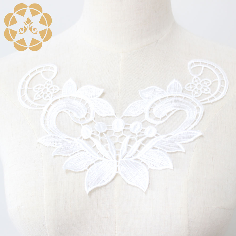 Winsunemb -Best Embroidery White Lace Applique For Dress Patch Sewing-1