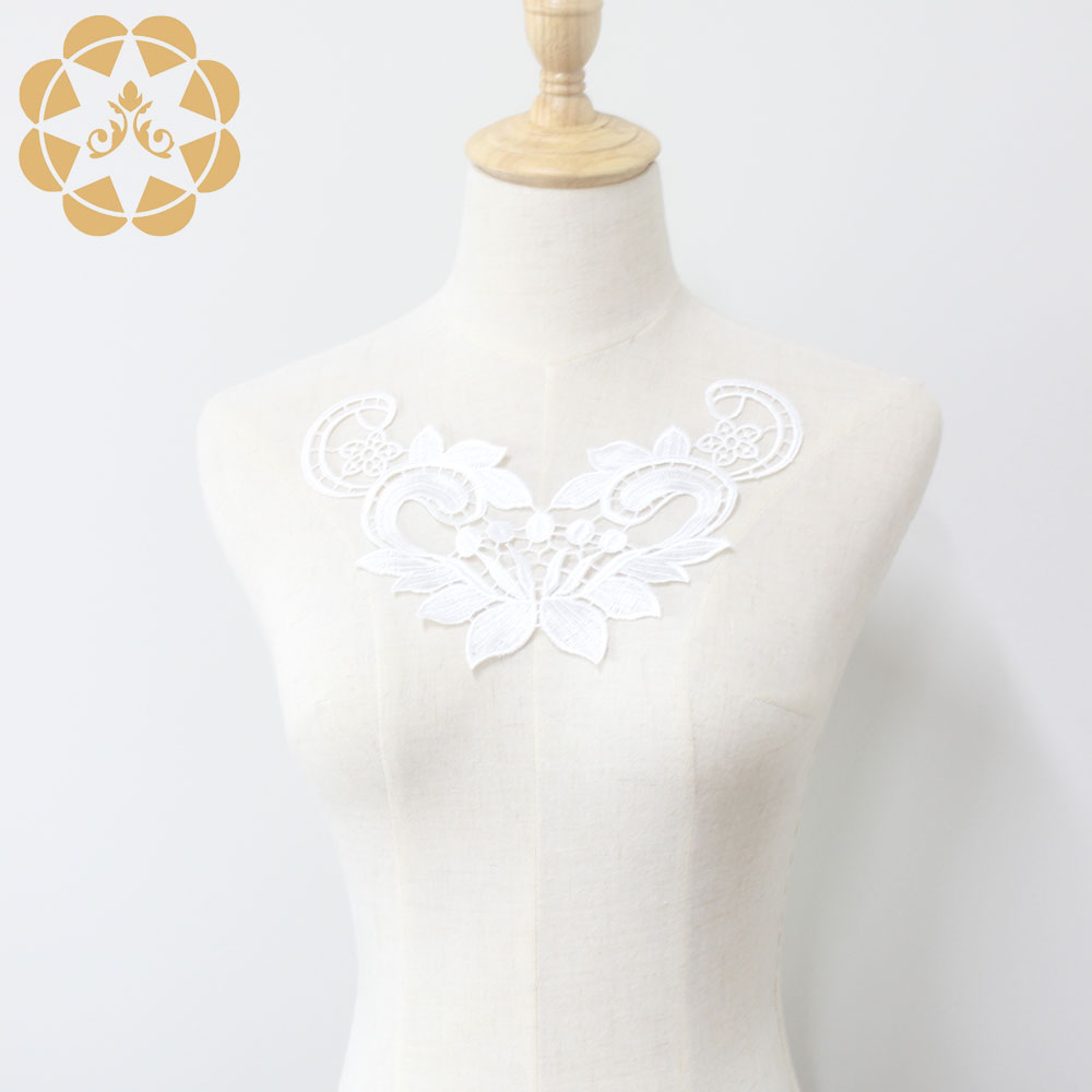 Winsunemb -Best Embroidery White Lace Applique For Dress Patch Sewing-2