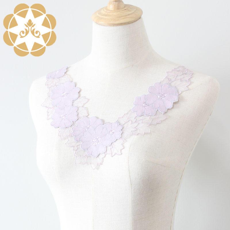 Embroidery Floral Dress Applique Motif Blouse Sewing DIY Neckline
