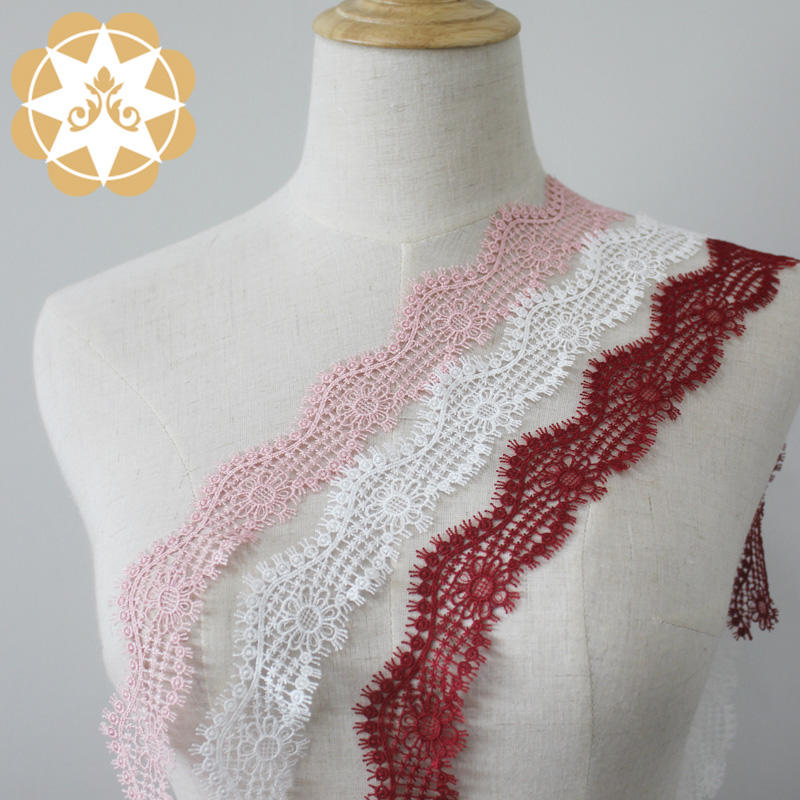 Venice Lace Trim in Ivory Pink and Red, Embroidery Scalloped Trim Lace for Veils, Garters
