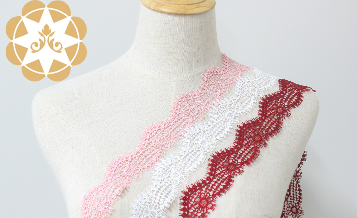 Winsunemb -Venice Lace Trim In Ivory Pink And Red, Embroidery Scalloped Trim Lace For Veils-1