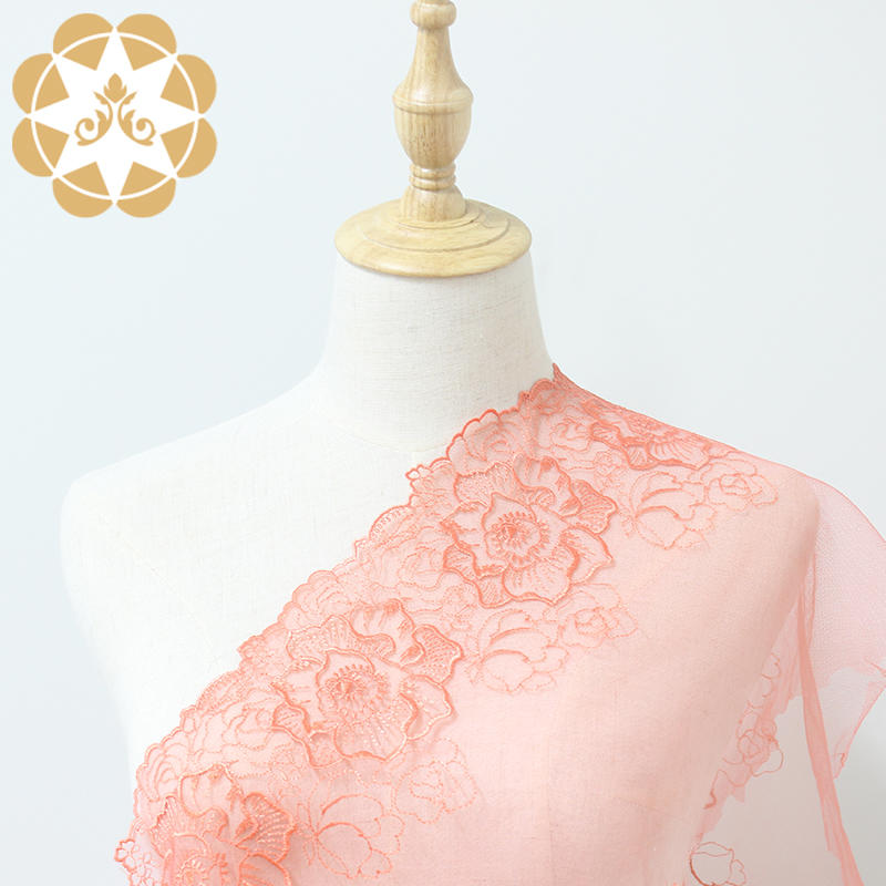 2019 Living Coral new colour , tulle mesh embroidery lace trim ,wedding lace, sexy lingerie lace trim