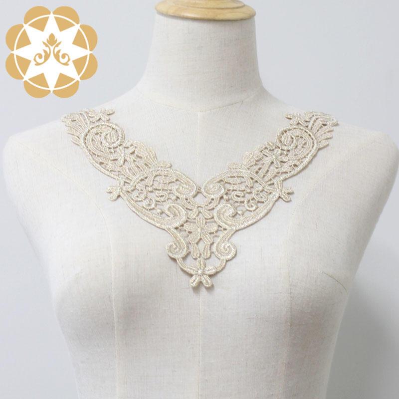 Golden Venice Lace Applique Collar/ Lace Necklace/neckline/Chemical Motif for Garments, Jewelry or costume Design