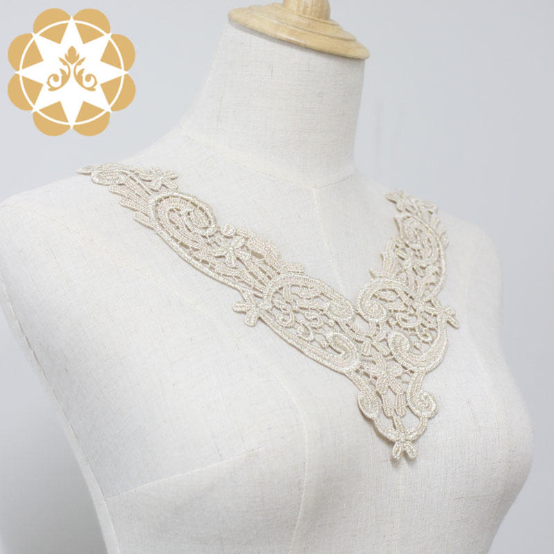 Golden Venice Lace Applique Collar/ Lace Necklace/neckline/Chemical Motif for Garments, Jewelry or costume Design