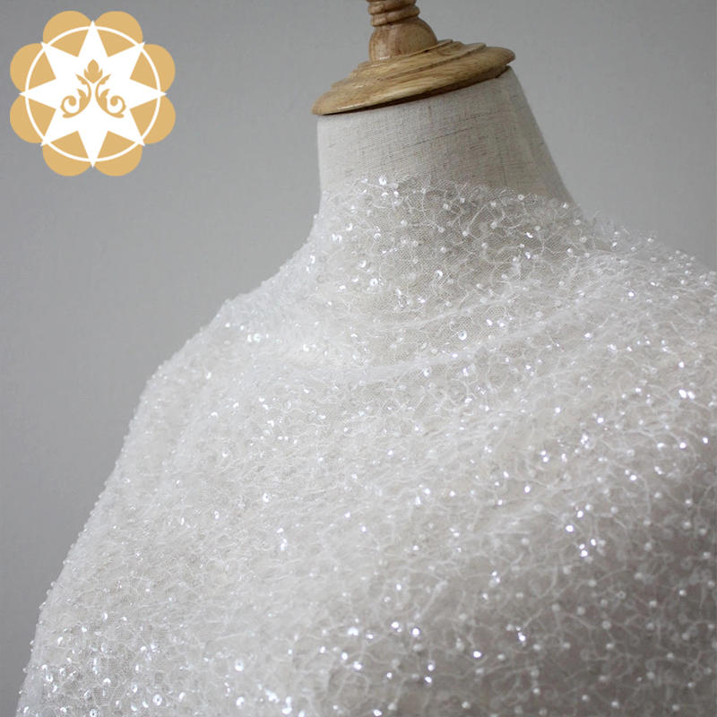 3d sequin beaded lace fabric 2019 embroidery lace for garment wedding dress high quality allover