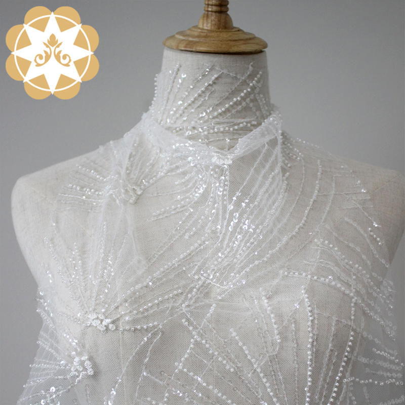 Handmade 3d sequin beaded lace fabric 2019 embroidery lace wedding dress high quality allover