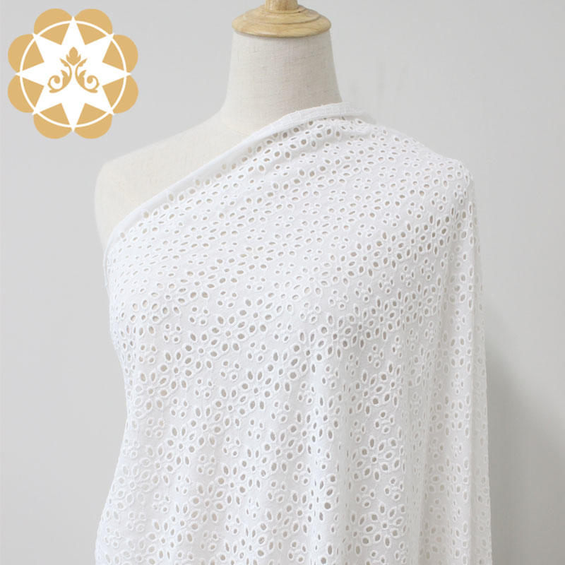 Cotton  Facric Eyelet Lace High Quality Embriodery For Personalized Curtains and Cool Breezy Shirt