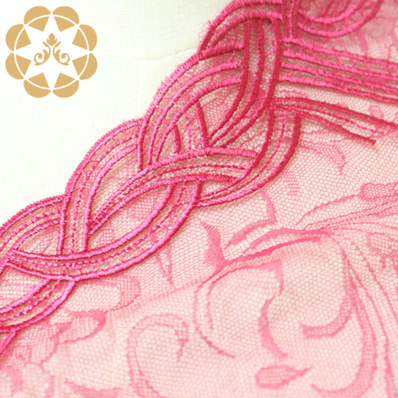 Wholesale Lace Fabric Polyester Yarn and Metallic thread embroidery lace for women dress and lingerie