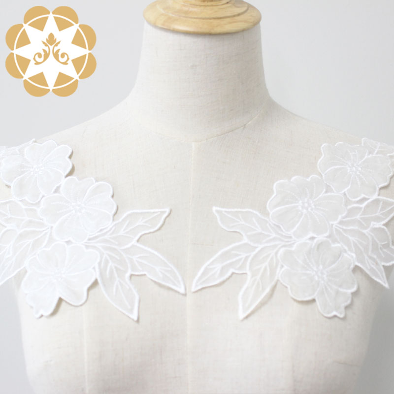 Factory supplier Floral motif applique lace cutwork embroidery sewing on clothers dress or craft for accessories-Winsunemb