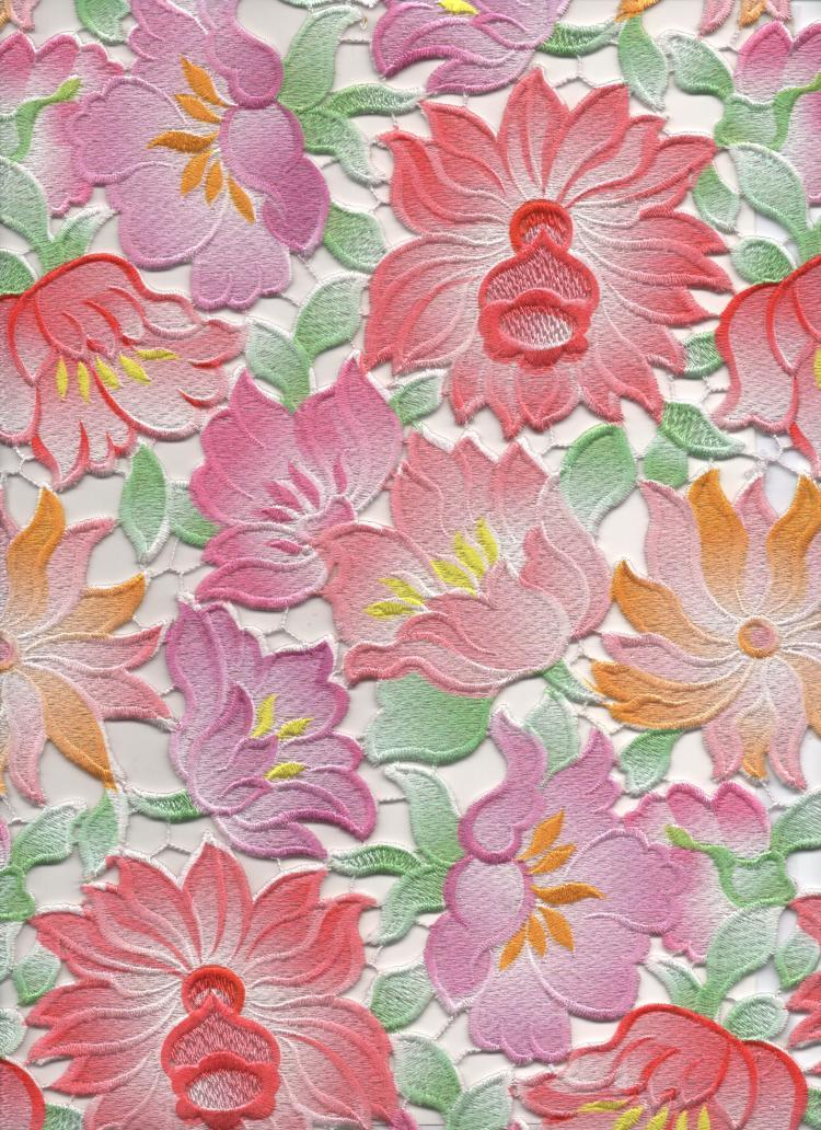 Flowers printedembroidery fabric digitalpositionprinting for dress or gowns